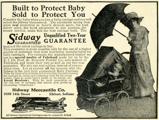 1913 Ad Sidway Mercantile Antique Covered Baby Carriage Stroller Elkhart Indiana