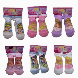 6 Pair Disney Princess Cinderella Ariel Snow White Baby Booties Socks 18 24 MO
