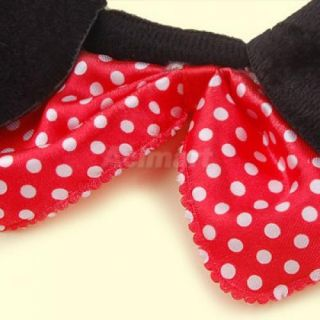 Mickey Mouse Ears Costume Head Band Red Bow Dots S