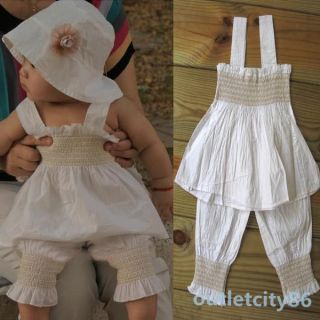 3 Pieces Baby Girls Kids Top Pants Hat Set Ruffled Outfit Costume Clothes 0 3Y