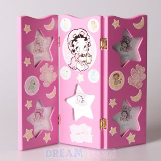 Baby Betty Boop Stars Moons and Animals Pink Triple Hinged Picture Frame