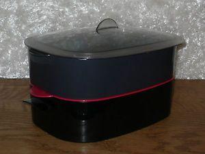 Tupperware Oval Microwave Stack Cooker Steamer Colander Set Black Red Gray