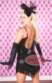 2 PC Black Sequin Burlesque Flapper Girl Roaring 20's Halloween Costume Large