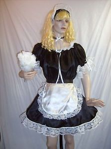 Adult Sissy Baby Sexy Black or Pink Satin 4pc French Maid Costume Custom Made