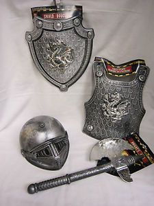 4pc Kids Halloween Medieval Knight Armor Costume Shield Helmet Plate Axe Dragon