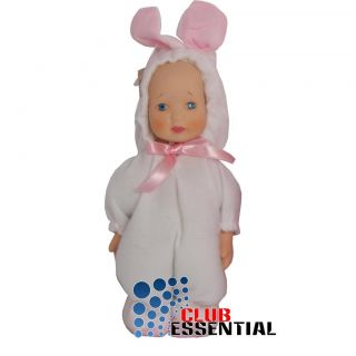 "Exquisite Adorable 7"" Porcelain Cute Baby Doll Bunny Outfit Costume Collection"