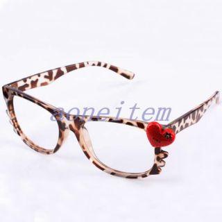 Costume Girls Kitten Cat Heart Leopard Eyewear Eyeglasses Glasses Frames No Lens