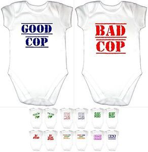 2 Funny Twin Baby Grow Gro Vest Clothes Boy Girl Fun Gift Good Bad Cop 7 Designs