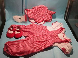 American Girl Bitty Baby Twins Doll Clothes Lot Red Checked Outfit Hat Shoes New