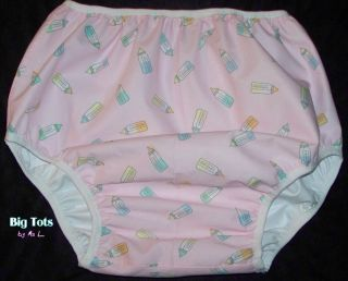 "Adult Baby ""Baby Bottles"" Diaper Cover PUL Lined 45"" Hip MSL Big Tots"
