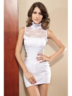Women Lady Sexy Lace Band Collar Hip Hugger Club Cocktail Party Mini Dress Slim