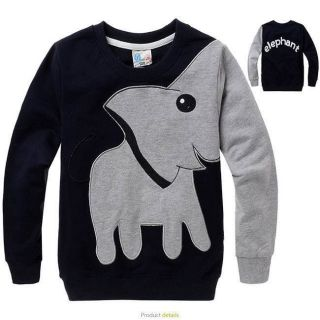 Boy's Cartoon Toddler Coats Lovely Elephant Pattern Kids Tops T Shirts 6 7Y