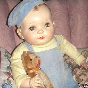 "RARE Original Molded Hair Lifesized 27"" Baby Coos Ideal Dolls  1950"
