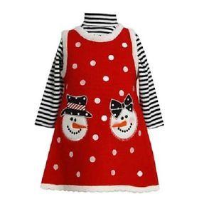 Bonnie Jean Girls Snowman Sweater Christmas Holiday Jumper Dress Shirt 24M