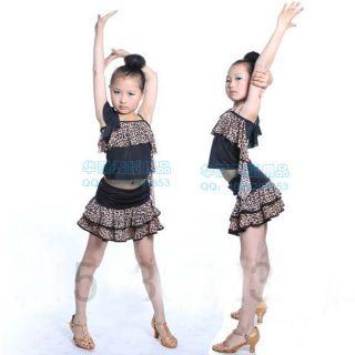 New Girls Latin Dance Dress Children Tango Ballroom Salsa Leopard Costume 2pcs