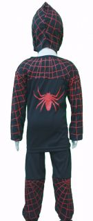 3pc Halloween Black Spiderman Costume Mask Boys 2 3T