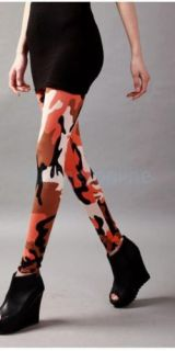 New Women's Fashion Stretchy Camo Printing Leggings Tights Size Free Orange