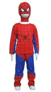 3pc Set Halloween Spiderman Costume Mask Boys 4 5T
