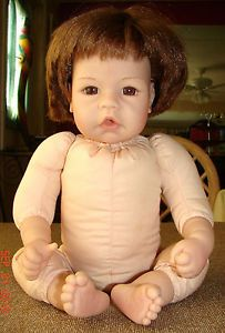"Lee Middleton Doll 17"" Brown Hair and Brown Glass Eyes"