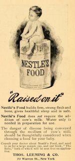 1896 Ad Thomas Leeming Nestle Food Infant Baby Formula Original Advertising