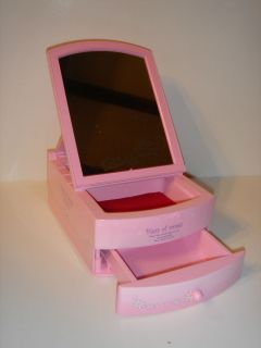 Pink Cartoon Musical Jewelry Box Kid Children w Mirror Drawer and Ring Tray