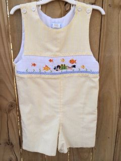 Boys Smocked Shortall Jon Jon with Scuba Diver Vive La Fete 3T 4T