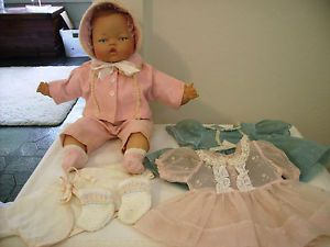 """Vtg 1960's Ideal 14"""" Tiny Thumbelina Baby Doll with Layette Wardrobe Clothes"""
