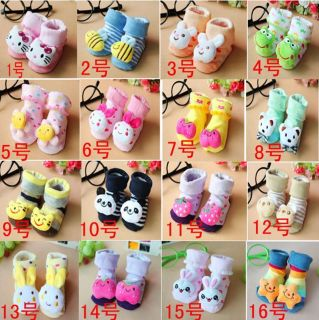 Baby Socks Anti Slip Shoes Smile Animal Cartoon Slippers Winter Boy Girls Boots