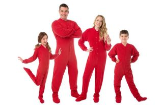 Big Feet PJs Red Fleece Footed Pajamas Adult Kids Infant Onesie