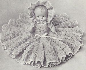 Vintage Crochet Pattern to Make 11 inch Bed Doll Baby Clothes Dress Bonnet Hat