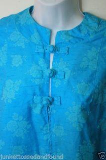 C173 Vtg 60's Retro Womens Turquoise Aqua Light Blue Lounge Coat House Dress M