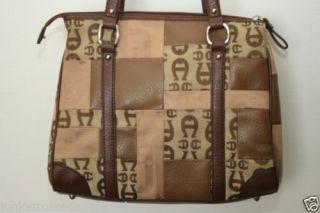 A215 Etienne Aigner Women Signature Logo Jacquard Large Purse Shoulder Hand Bag