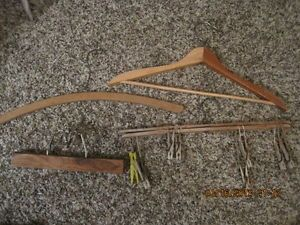 Antique Vintage Wood Hangers Lot 4 Clothes Pins Pants Skirt Home Decor Laundry