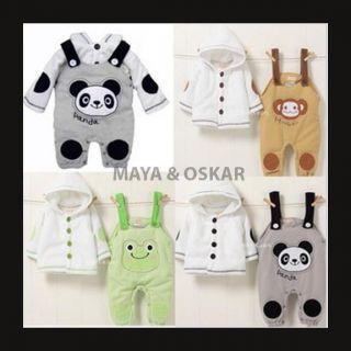 Baby Boy Girl 2pc Fleece Winter Outfit Jacket Dungarees Frog Monkey Panda
