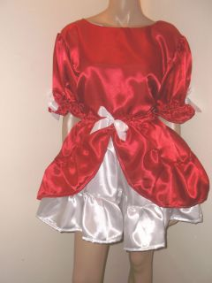 """Adult Baby Sissy Red White Satin Dress 50"""" Pretty Frilly Hem Double Layer"""
