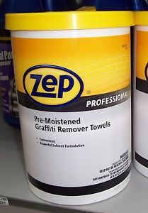 Zep Professional Graffiti Remover Wipes Pre Moistened Cleaner Towels
