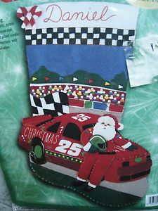 "Bucilla Felt Applique Stocking Kit Christmas 500 NASCAR Race Car Santa Size 18"""