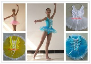 New Girls Child Party Ballet Costume Tutu Leotard Skirt Dance Dress 4Colors 3 8Y