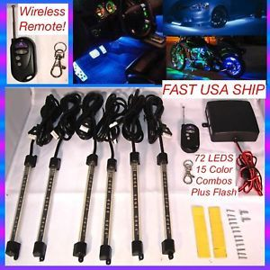6 Piece PC Million Color LED Under Glow Light Kit Motorcycle Neon with Remote