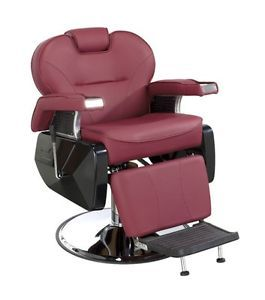 New Burgundy Hydraulic Reclining Barber Chair Hair Salon Styling Chairs Stations