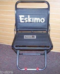 11459 Eskimo Versa Ice Chair Demo Model Black Collapsible Flipmo Fishing Chairs