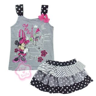 Girls Lovely Outfit Kids Striped T Shirt Polka Dots Skirt Size 3 7Y