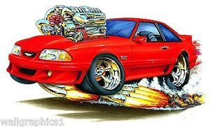 Mad Dog 1987 93 Ford Mustang GT 5 0 Wall Graphic Vinyl Decal Man Cave Truck Fox