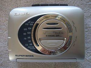 HS TA403 Aiwa Radio Cassette Player Walkman s Bass Auto Reverse Unused
