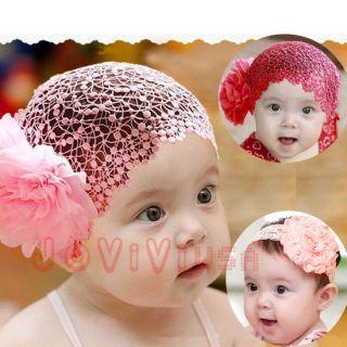 Q Newborn Baby Toddler Kid's Headband Hat Beanie Flower Hair Band Lace Elastic