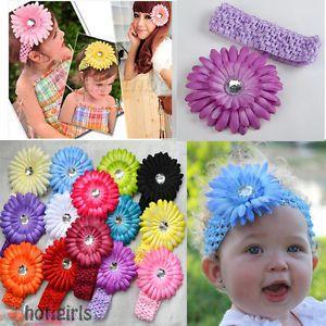 Optional Baby Girl Hair Daisy Flower Bow Clip Headband Cute 14 Colour Available