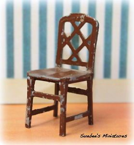 """Tootsietoy Vintage Metal Dollhouse Furniture 1930's Dining Room Chair 1 2"""""""