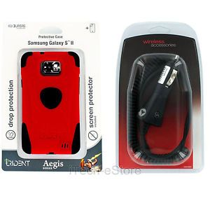 Straight Talk Samsung Galaxy s II S2 Trident Aegis Case w Auto Car Charger Red