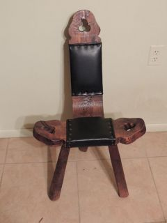 Antique Vintage Wood Labor Birthing Chair Spinning Wheel Chair