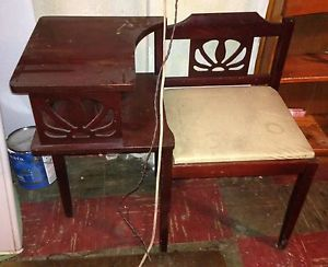 Vintage Telephone Chair Gossip Bench Old Art Deco Retro Phone Table Wood Seat